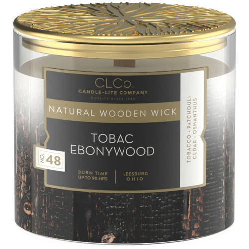 Candle-lite CLCo Luxury Scented Candle Wooden Wick 14 oz 396 g - No. 48 Tobac Ebonywood