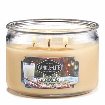 Candle-lite Everyday Collection 3-Wick Terrace Jar Glass Scented Candle 10 oz - Santa's Cookies