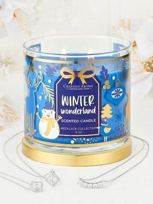 Charmed Aroma jewel soy scented candle with Silver Necklace 12 oz 340 g - Winter Wonderland