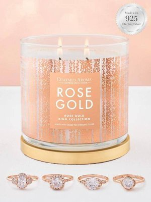 Charmed Aroma jewel soy scented candle with Silver Ring 12 oz 340 g - Rose Gold