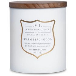 Colonial Candle wooden wick soy scented candle grey 15 oz 425 g - Warm Beachwood