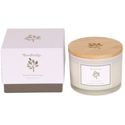 Woodbridge medium scented soy candle 3 wicks 370 g in a box - Cashmere & Lilac