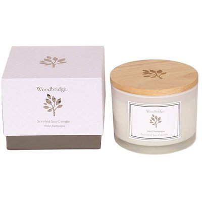 Woodbridge medium scented soy candle 3 wicks 370 g in a box - Pink Champagne
