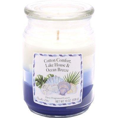 Candle-lite 3-Layer 19 oz duża trójkolorowa sojowa świeca zapachowa w szklanym słoju 145/100 mm 538 g ~ 115 h - Cotton Comfort, Lake House, Ocean Breeze