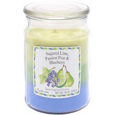 Candle-lite 3-Layer 19 oz duża trójkolorowa sojowa świeca zapachowa w szklanym słoju 538 g - Sugared Lime, Passion Pear, Blueberry