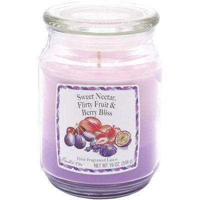 Candle-lite 3-Layer 19 oz duża trójkolorowa sojowa świeca zapachowa w szklanym słoju 538 g - Sweet Nectar, Flirty Fruits, Berry Bliss