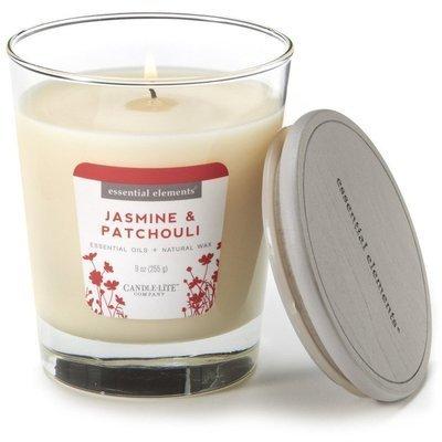 Candle-lite Essential Elements Jar Candle 9 oz świeca zapachowa sojowa w szkle z olejkami eterycznymi 255 g ~ 50 h - Jasmine & Patchouli