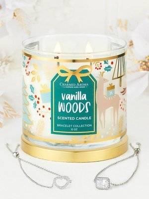 Charmed Aroma sojowa świeca zapachowa z biżuterią 12 oz 340 g Bransoletka - Vanilla Woods