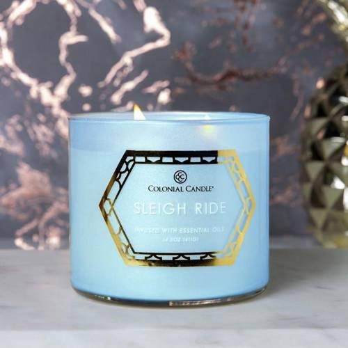 Colonial Candle Luxe sojowa świeca zapachowa w szkle 3 knoty 14.5 oz 411 g - Sleigh Ride