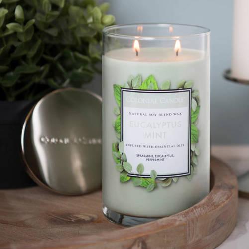 Colonial Candle duża świeca zapachowa sojowa w szkle tumbler 18 oz 510 g - Eucalyptus Mint