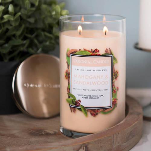 Colonial Candle duża świeca zapachowa sojowa w szkle tumbler 18 oz 510 g - Mahogany & Sandalwood