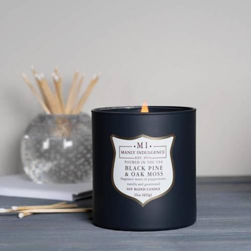 Colonial Candle sojowa świeca zapachowa w szkle drewniany knot 15 oz 425 g - Black Pine & Oak Moss