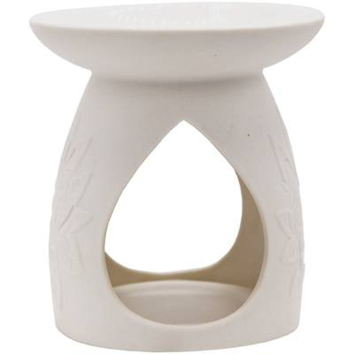 Kominek do wosku zapachowego z ażurowym wykończeniem Fleur - Biały