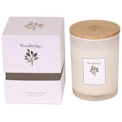 Woodbridge świeca zapachowa sojowa w szkle 270 g pudełko - Cashmere & Lilac