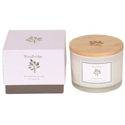 Ароматическая соевая свеча Woodbridge в стекле, 3 фитиля, коробка 370 г - Pomegranate