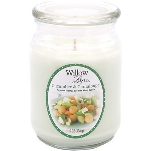 Candle-lite Willow Lane duża sojowa świeca zapachowa w szklanym słoju 538 g - Cucumber & Cantaloupe