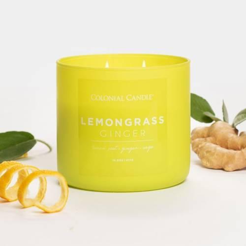 Colonial Candle Pop Of Color sojowa świeca zapachowa w szkle 3 knoty 14.5 oz 411 g - Lemongrass Ginger